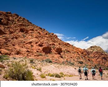 People walk to Red Rock Canyon Nevada Las Vegas