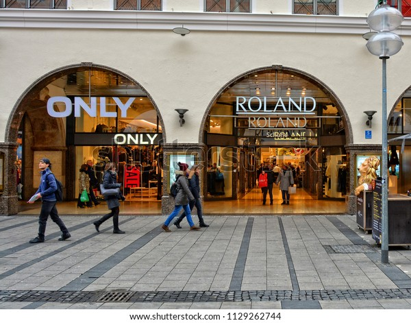 People Walk Street Exterior Stores Only Stock Photo (Edit Now