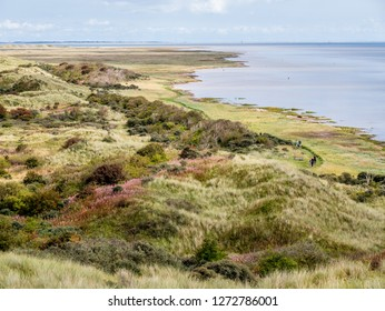 People walking along Wadden Sea coast of nature reserve Het Oerd on West Frisian island Ameland, Friesland, Netherlands