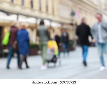 People walking in city center,blur