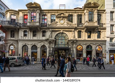 People walking in front of Cicek Pasaji or Cite de Pera, a famous historic passage on Istiklal Avenue.  Istanbul, Beyoglu, Turkey, October 2018