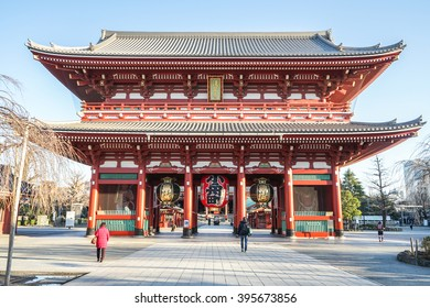 The people walking to the Giant Lantern hanging in Thunder Gate, the gate in front of Asakusa Sensoji-ji Temple Japan in the morning.