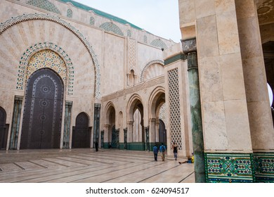 people walking in hassan ii mosque