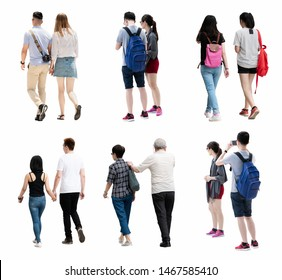People walking isolated.back view of walking people.