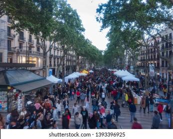 People walking in Las Ramblas, street of Barcelona, Spain. Year 2015