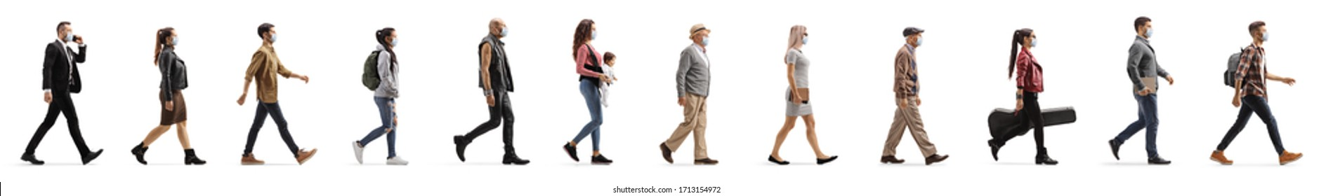 People walking in line and wearing protective medical maks during pandemic period isolated on white background