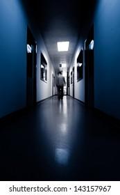 people walking in modern laboratory, blur motion.