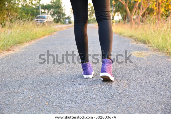People walking at the morning for warm up body for jogging and exercise