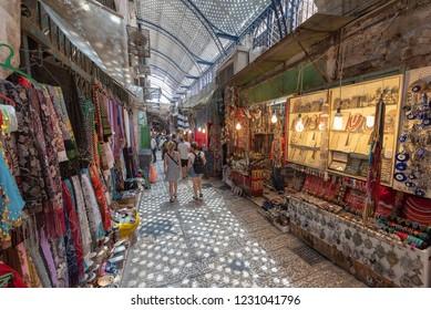 People walking in the muslim quarter of the old city of Jerusalem,Israel.