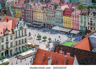 People walking on the market square in Wroclaw, Poland. Top view.