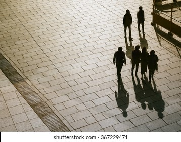 People walking on Pathway Top view Silhouette