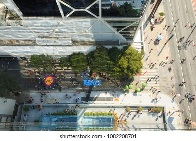 People walking on Paulista Avenue - May 1st - Public Holiday
