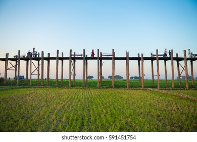 People walking on U-Bein Bridge - Mandalay, Myanmar