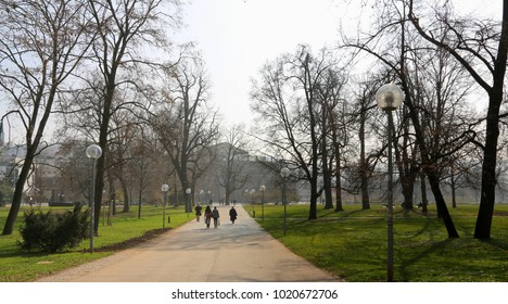 People are walking in the park  in the early spring.