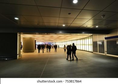 People walking in station tunnel Milan Italy circa September 2015