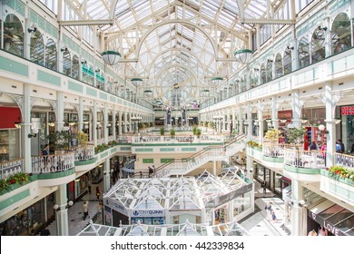 People walking in the Stephen's Green Shopping Centre. The complex is located in the Grafton Street, the most famous shopping area of the Irish capital.