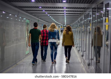 People are walking underground