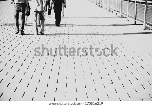 People Walking, Urban Pathway