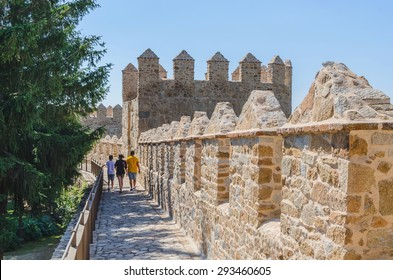 People walks into Avila walls, Avila, Castilla y Leon, Spain