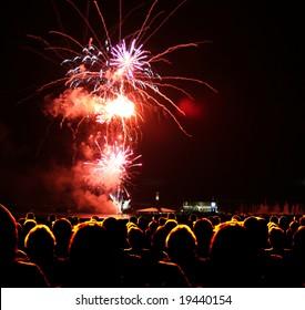 People watch fireworks display