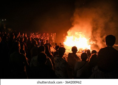 People watching the bonfire