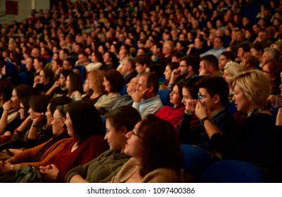 People are watching a concert or theater. Blurred Audience in a theater, on a concert. Viewers watching the show On 12 March, 2018 In Ankara