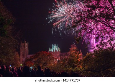 People watching the fireworks lighting up the sky over Ely Cathederal.