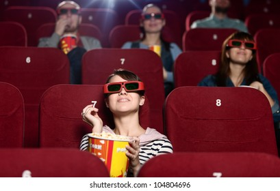 People are watching a movie in 3D