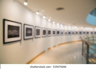 People Watching Photograph or Image in Art Gallery Museum, Abstract Blur or Defocus Background