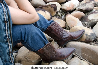 b66d6db9ab1 Woman Wearing Cowboy Boots Images, Stock Photos & Vectors   Shutterstock