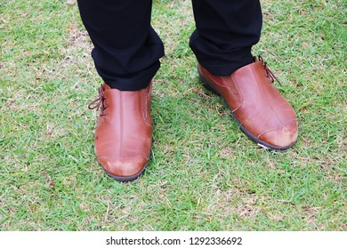 People wearing black slacks and brown leather shoes stand on the grass.