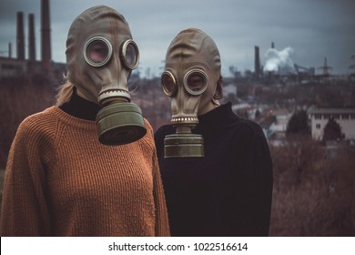 people wearing gas masks