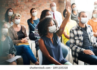 People wearing mask during workshop in the new normal