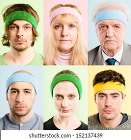 People wearing sweatbands Crazy funny faces portrait collection