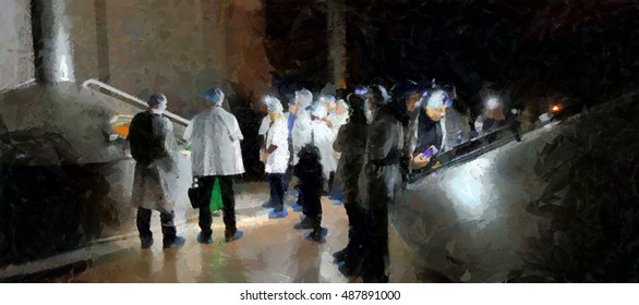 People in white coats in the production departments at the plant. Illustration