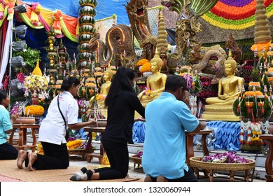 People who are Buddhists have come to make merit to pay homage to the Thai temple tradition on February 18, 2019 at Wat Klang Phanom Phrai, Phanom Phrai District. Roi Et Province, Thailand