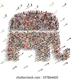 People who are Republicans. Large group of people forming the Republican symbol on a white background.