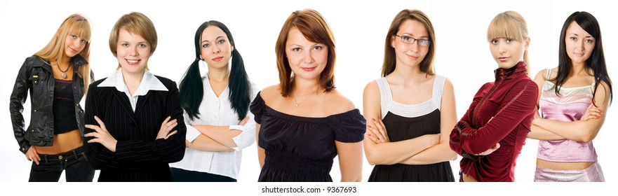 people woman group on white background
