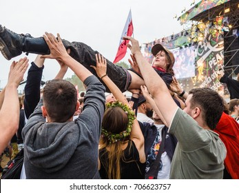 People in Woodstock Festival, Poland. 6 August 2017. A huge free summer music festival held the beginning of August in Kostrzyn and Odra, massive free music and arts.