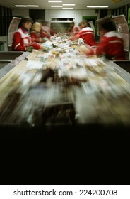 People working in assembly line, blurred