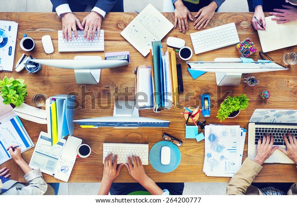 People Working in a Conference and Photo Illustration