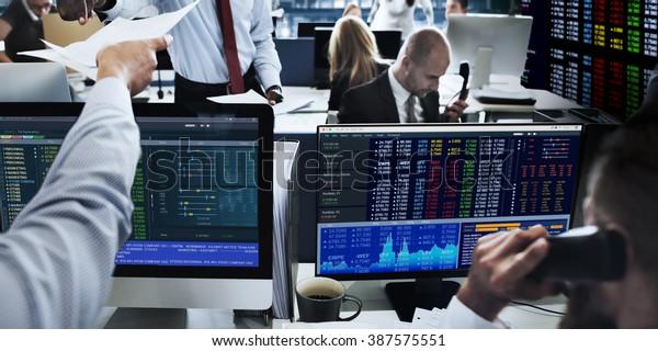 People Working Finance Stock Exchange Concept