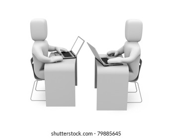 People working on laptops. Image contain clipping path