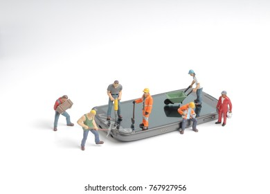 people working on mobile on selective focus