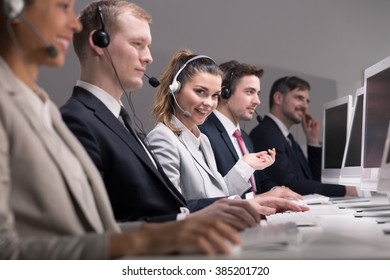 People working in professional call center