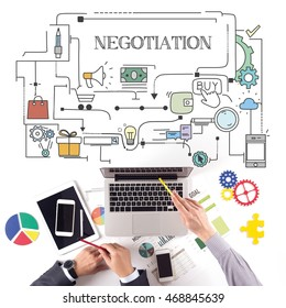 PEOPLE WORKING WORKPLACE TECHNOLOGY TEAMWORK NEGOTIATION CONCEPT