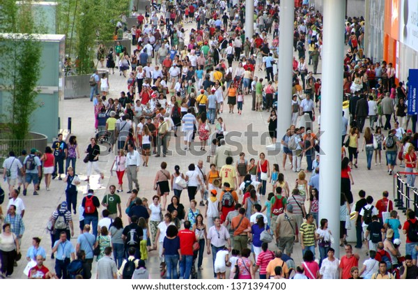 People in Zaragoza, Spain. Year 2006
