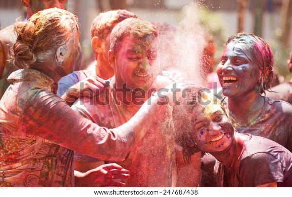 Peoples celebrating Indian color festival called HOLI on March 17, 2014, Mumbai Maharashtra India South East Asia
