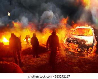 People's insurgents in urban combat with government forces commandos burning cars and tires prevents fire and smoke shooting sighting sniper army against the backdrop of the ruined city