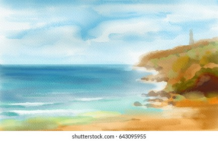 peoples are relax in beach  and tropical sea watercolors  or water color painting